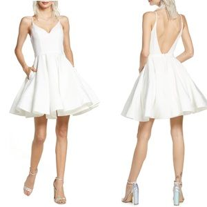 Leena for MacDuggal White Fit & Flare Party Dress